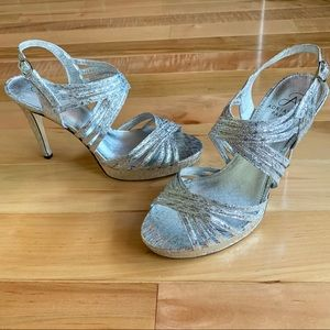 32afebc2987 Adrianna Papell Aiden Silver Foil Prom Heels 7.5